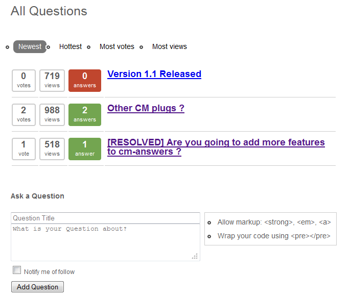 Publish a question and answer discussion thread on your WordPress website with this new plugin by cminds
