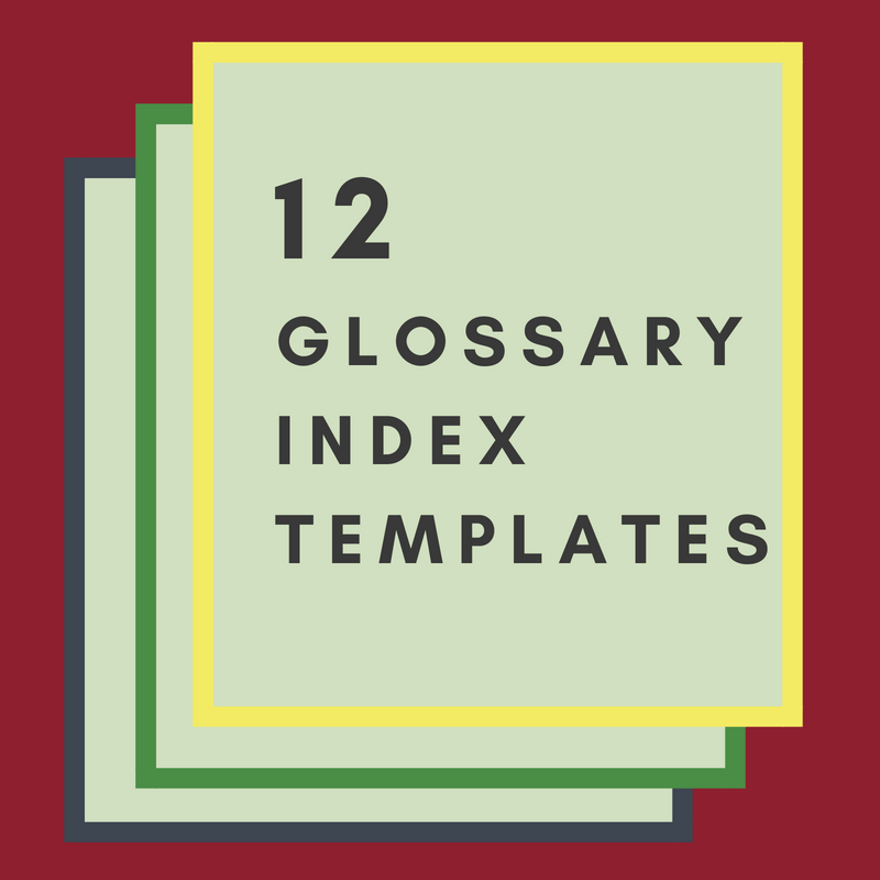 Glossary index templates offer many glossary styles to choose from