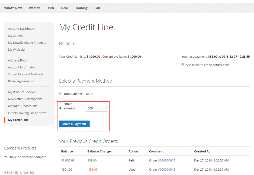 Credit Line Magento 2