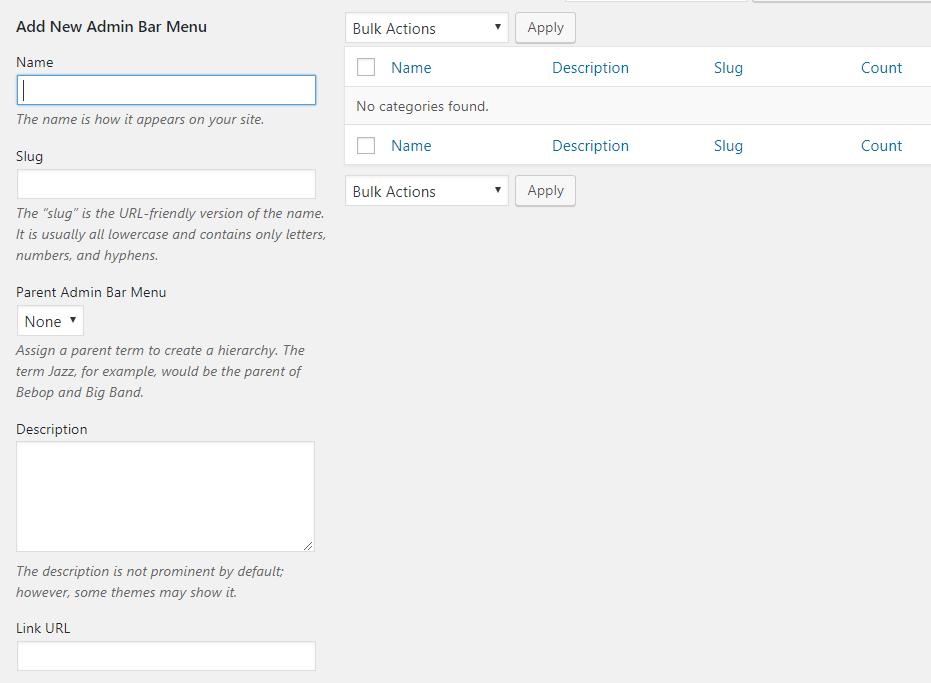 Add New Admin Bar Menu