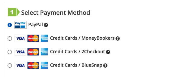 Showing cart payment options with icon, edited label and balloon help