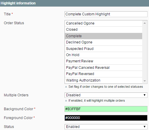 Extension configuration options for order status