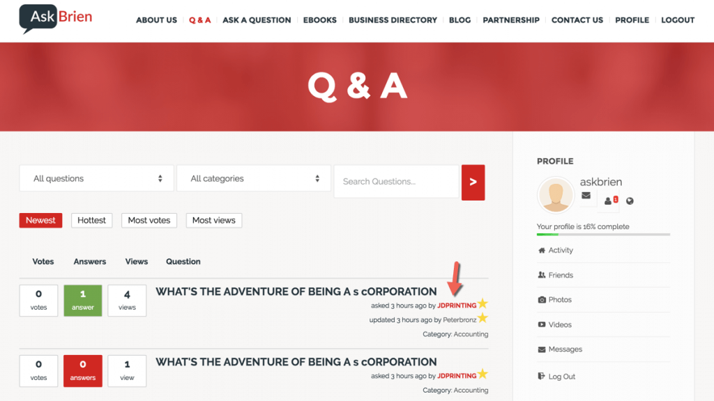 Answers forum with link to Peepso profile