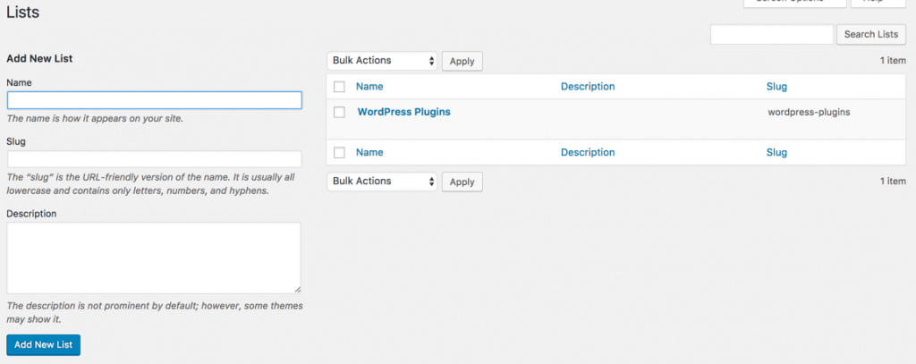 Rss Aggregator feed management - List settings