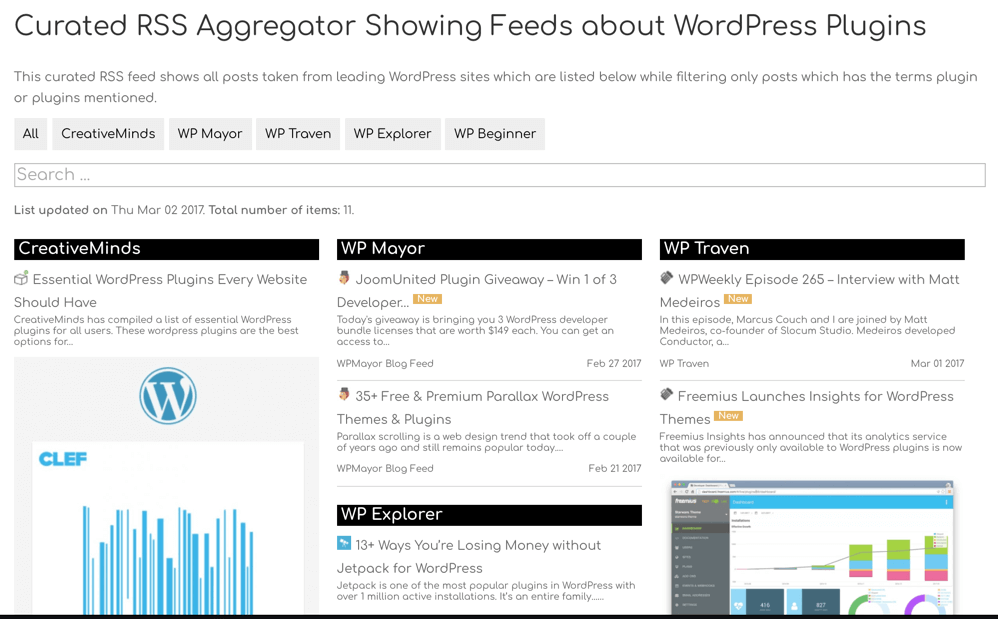 Rss Aggregator - Full list view with all feeds