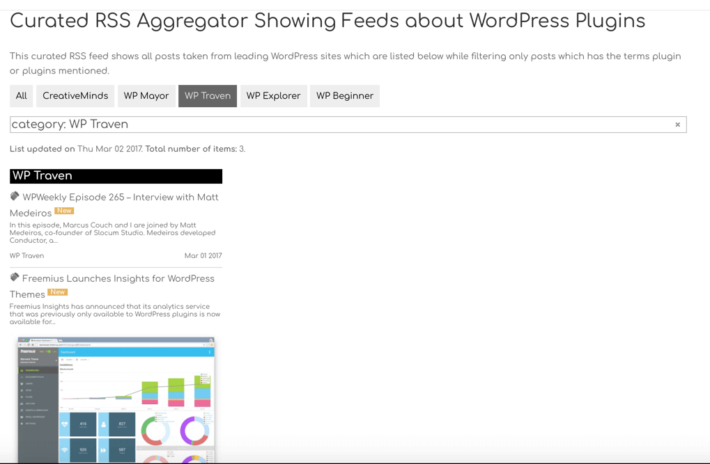 Rss Aggregator - Filter by category