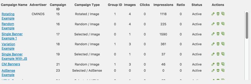 Ad Manager Plugin Campaign Dashboard Screen