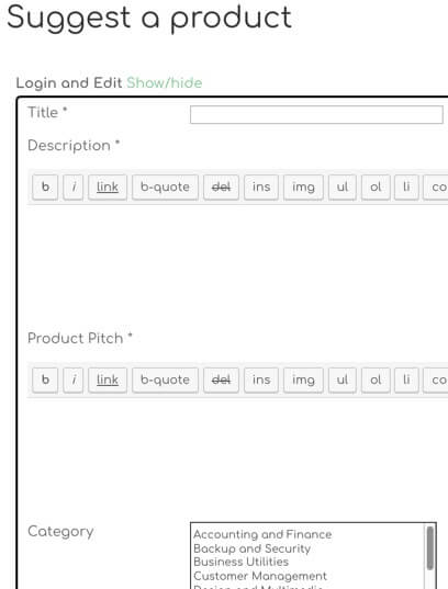 Showing part of the new product submission form