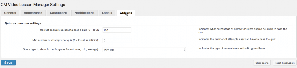 Video Lessons Quiz Add-on: General Settings