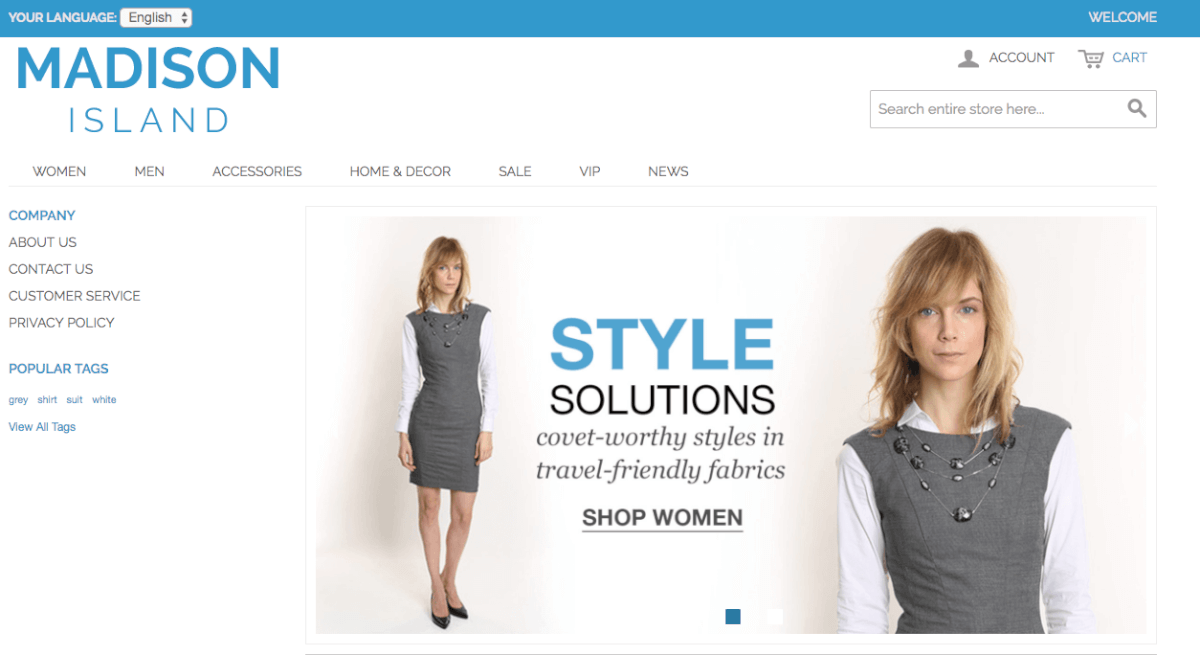 Sample Online Store Created With the Magento Marketplace Extension