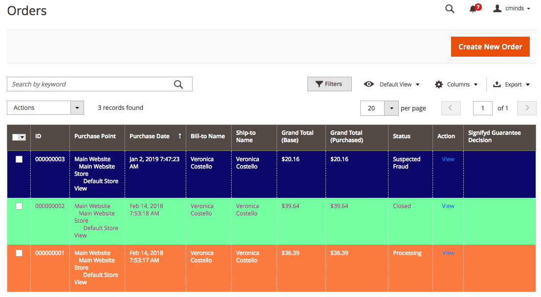 Order Grid with color visualization based on status