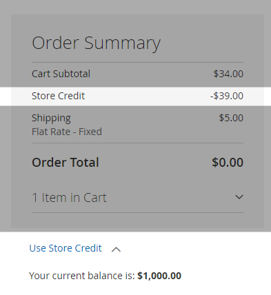 Allowing customer to check the store credit as a payment gateway option