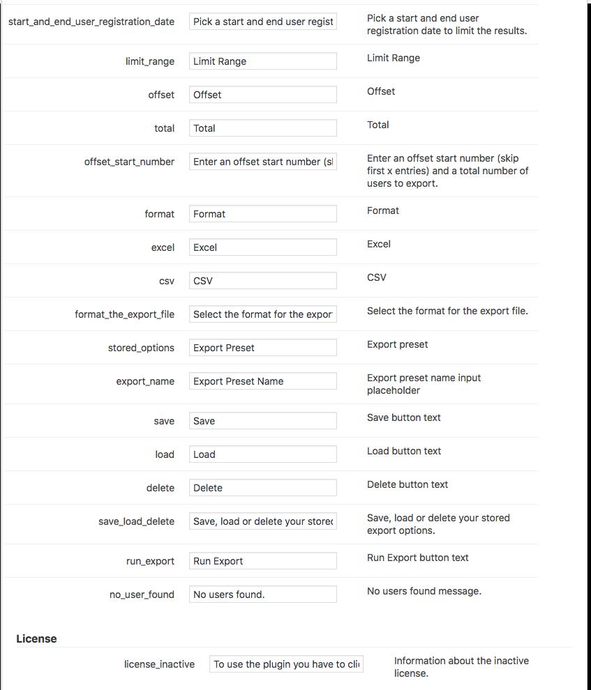 Export User Data Plugin - Labels 2/2