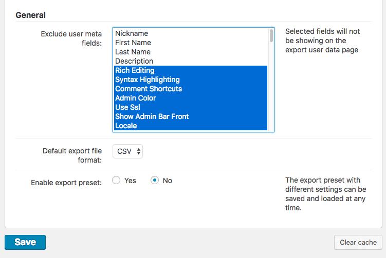 Export User Data Plugin - General Settings