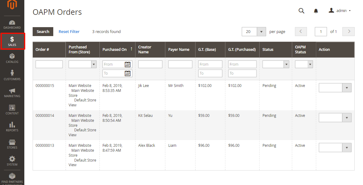 Admin dashboard showing pending orders