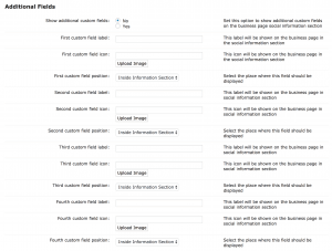 Business Page - Additional Fields
