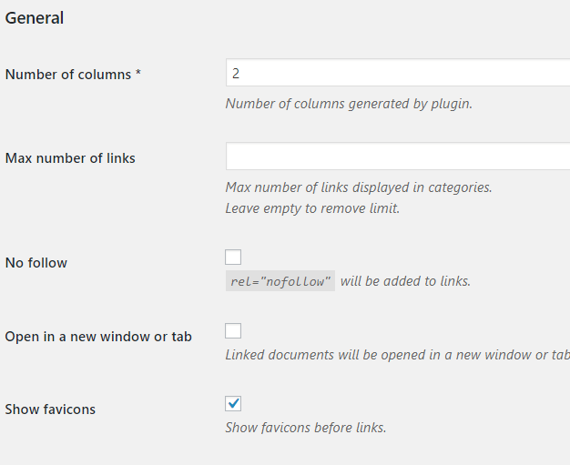Plugin Options-General