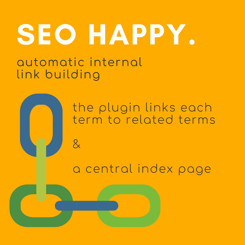 Glossary term entries automatically link, giving huge SEO benefits