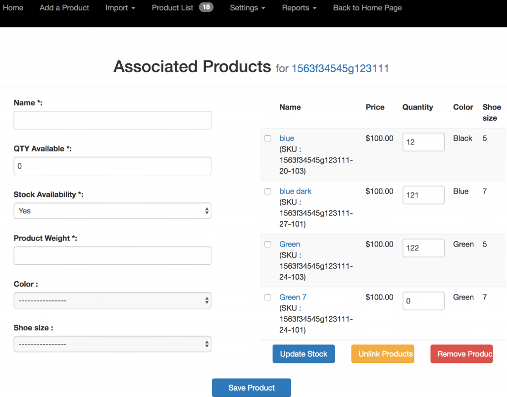 Adding associated products for configurable product