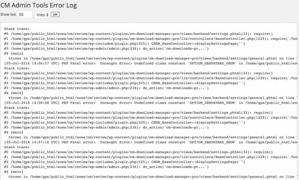 Admin Tools Error Log