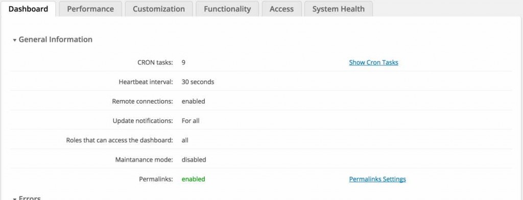 Admin Tools General Information Dashboard