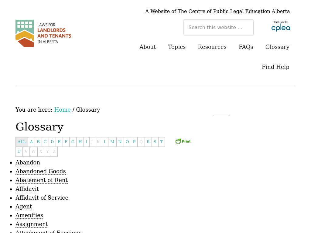 Alberta Legal Education Glossary