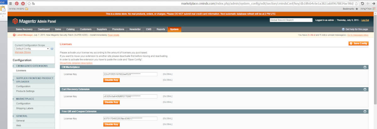 How to install a magento extension- license keys