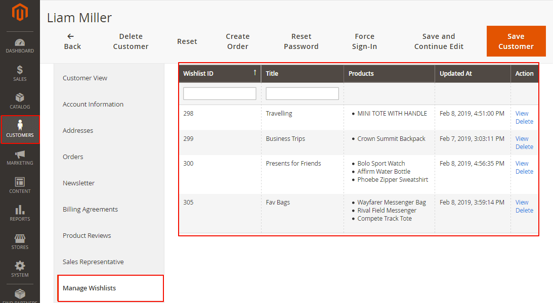 Admin view of a specific customer's wishlists in which they can manage it.