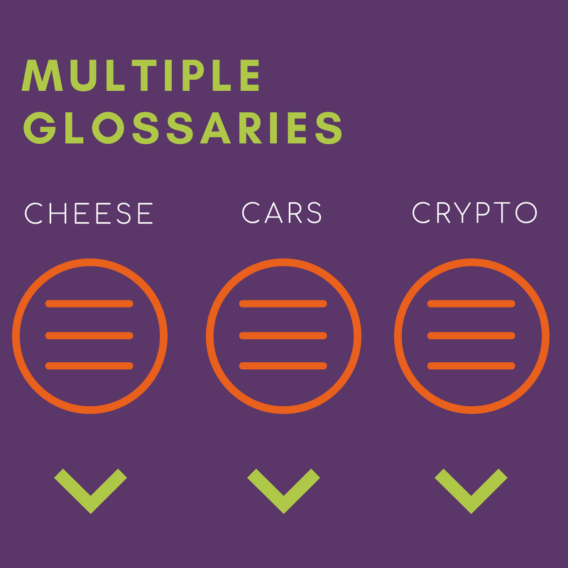 Expand your knowledge base with multiple glossaries for each niche or topic