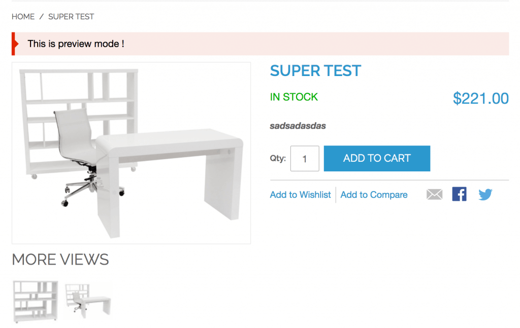 Product page preview for supplier product