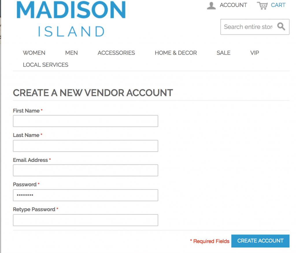 Vendor unique registration page