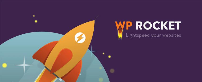 Brand logo for the WP Rocket WordPress plugin.