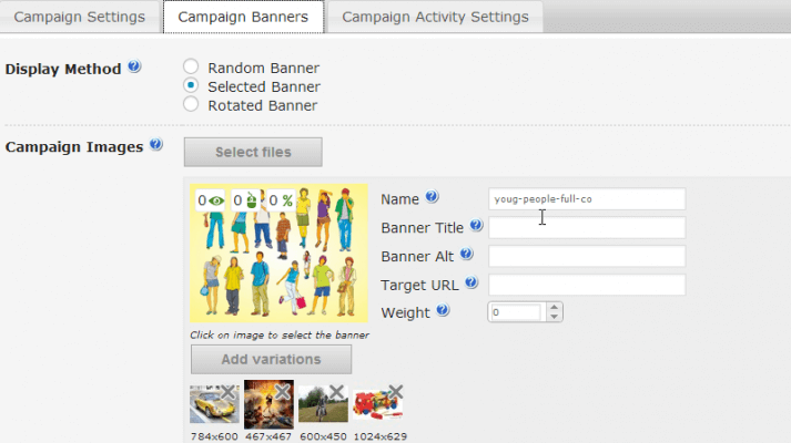 Campaign Banner Ad Setting Screen