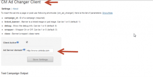 Ad Changer Client plugin settings