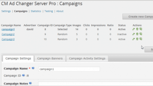 Ad Changer Server campaigns table