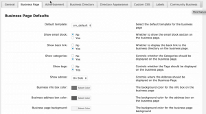 CM Business Directory Business page settings