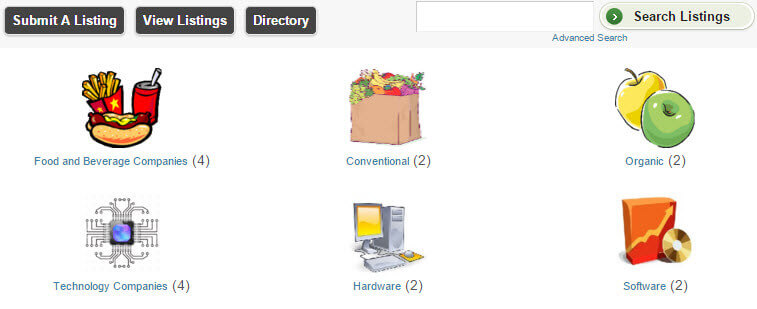 Business listing categories
