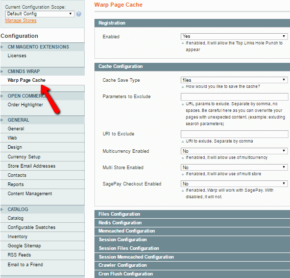 Showing admin screen allowing advanced extension configuration