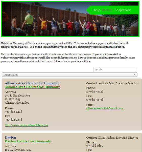 Business listing example made with Connections Business Directory