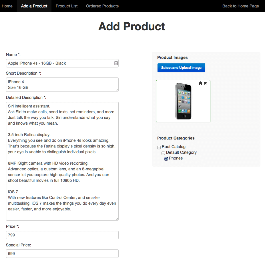 Supplier add product page in CM marketplace