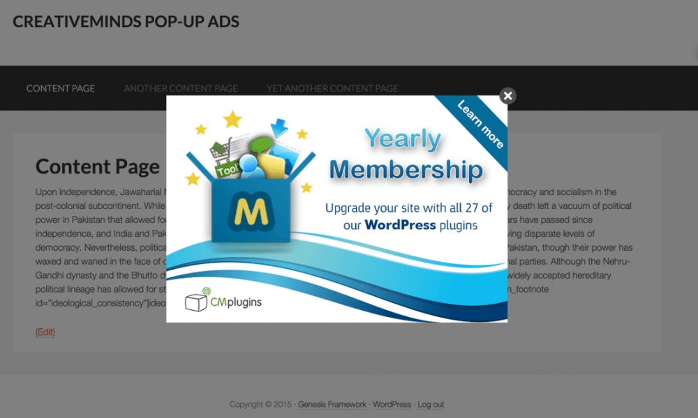 CM Pop-Up Banners Plugin PopUp Banner Example