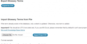 Import, export and backup glossaries as .csv files