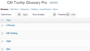 Selecting glossary terms before export