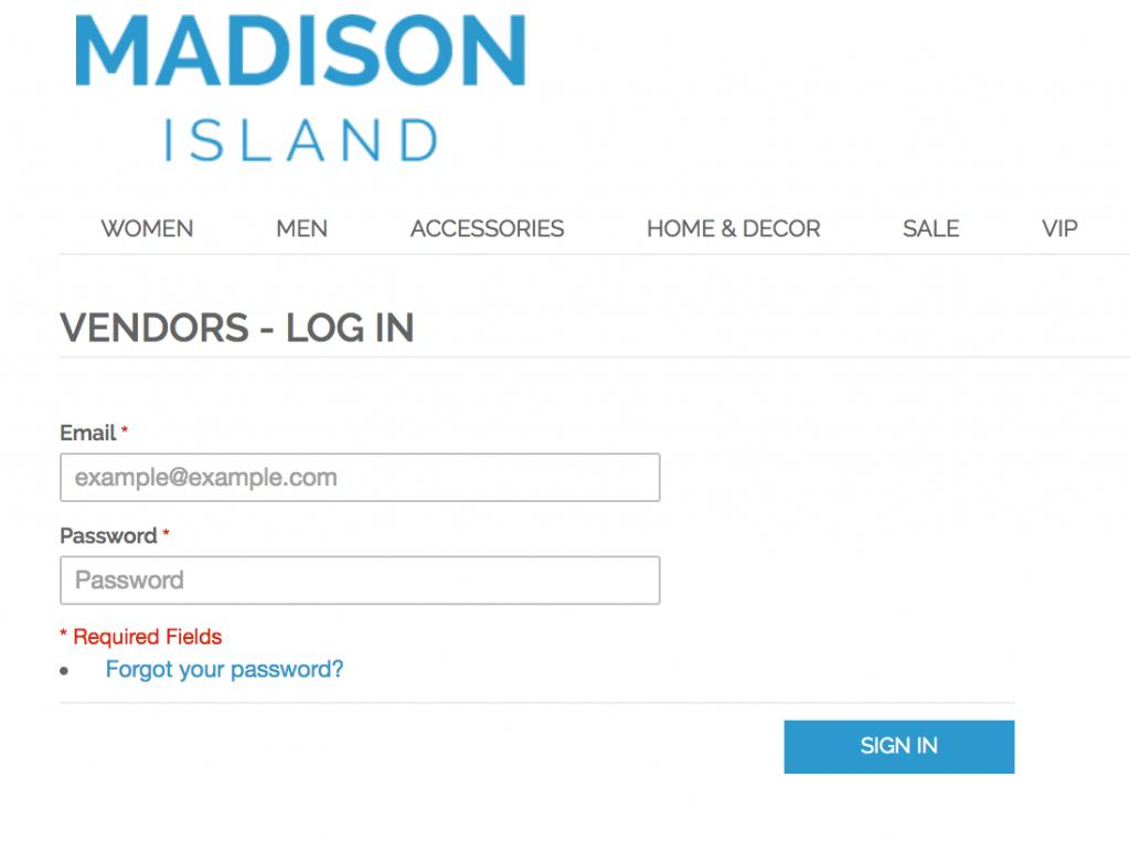 Unique vendors login page